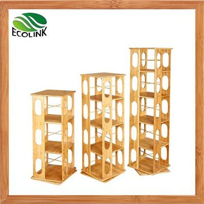 3-tier 4-tier 5-level Rotating Revolving Modern Solid Bamboo Wood Book Media Rack Cabinet Stand Bookcase Bookshelf