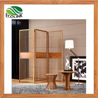 Modern Solid Bamboo Wood 3-Panel 4-panel Folding Screen Room Divider