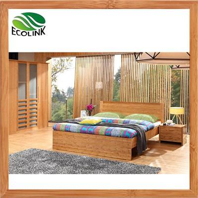 Contemporary Solid Bamboo Wood Platform King Queen Size Bed