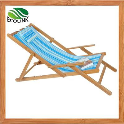 Bamboo Wood Outdoor Foldable Sun Chaise Lounger Leisure Beach Chair