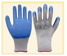 10gauge 2thread cotton latex coated safety working glove