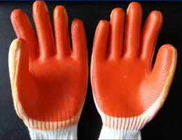 7G polycotton latex rubber stuck glove,crinkle finish