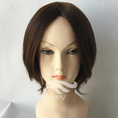 Lace front Straight Short Natural Virgin Human Hair Mono Ladies Wigs Manufacturer