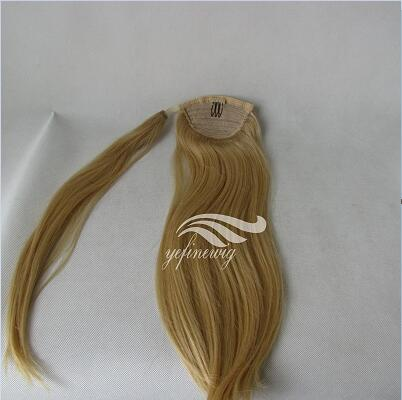 Wholesale Real Cheap Clip in Blonde Human Hair Ponytail/Bangs Hair Extension Companies