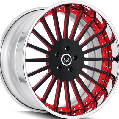 Red Center 2PC Forged Wheel Rims