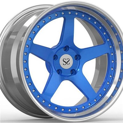 Blue 3 Piece Forged Wheel Rims