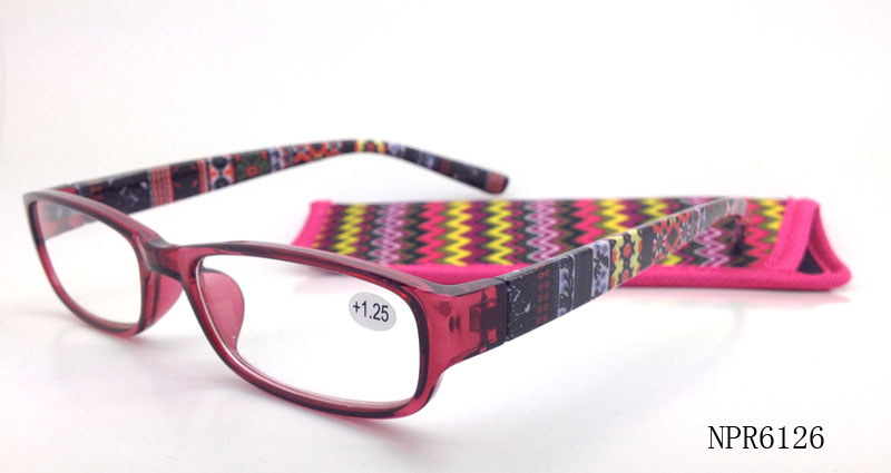 Reading glasses with special design pattern temples are durable, comfortable ;with pouches