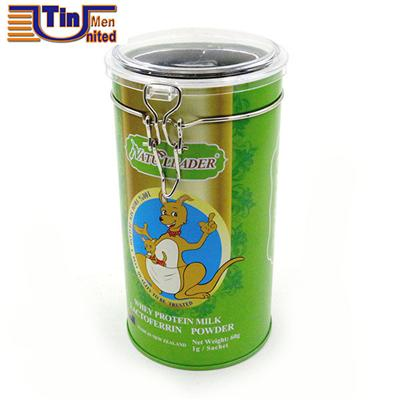 Round Tea Storage Tin Box with A Metal Bracket and Transparent PS Lid