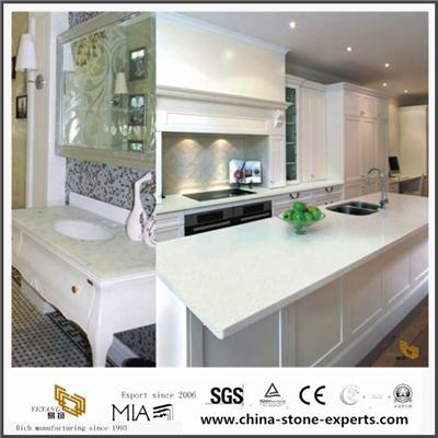 Pure White Laminate Quartz Countertops For Kitchen And Bathroom With Cheap Cost