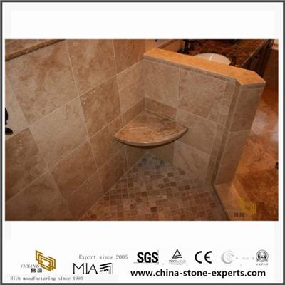 Custom Italy Polished Noce Coffee Brown Travertine Slab For Bathroom From Stone Company