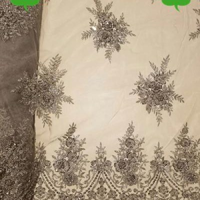African Beaded Bridal Lace Fabric