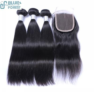 Blue Forest Hair In Stock Straight Wave Black Color Hair Weft And Lace Closure