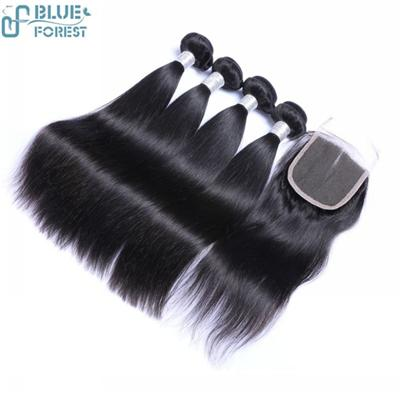 Free Shipping Brazilian Silk Straight Hair Extensions With Lace Closure