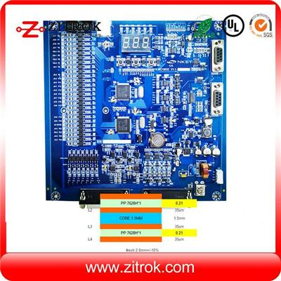 Blue Solder Mask 52um Copper 4Layer Board With Assembly Service