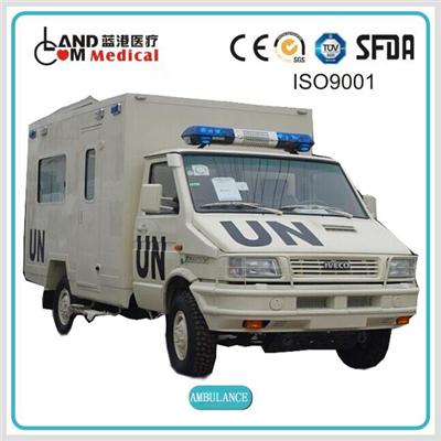 type Ⅲ 4×4 / 4WD cross country left hand drive / LHD iveco diesel van box type ambulance