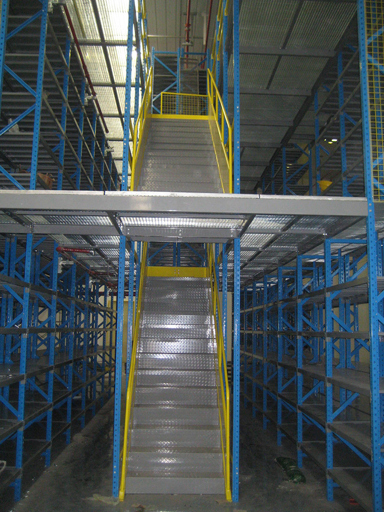 With 2 level floors multi- tier racking