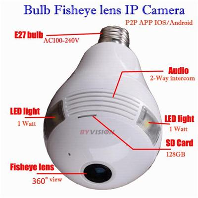 Light Bulb Spy Camera Wifi 360 Fisheye Cctv Camera