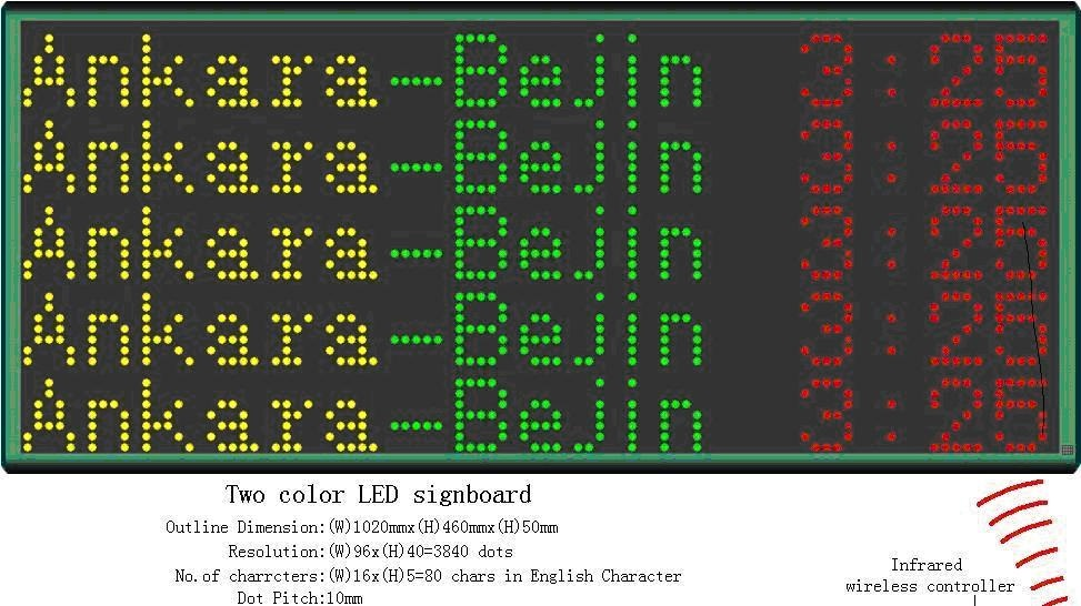 Moving message bus led destination display board support multi-languages