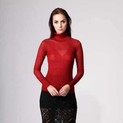 2017 Latest fashion woman elegant high neck hand knitted sweater