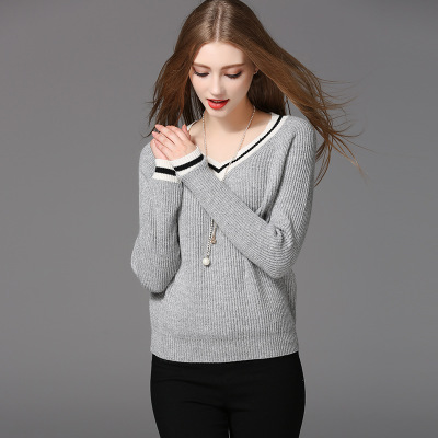 New style design long sleeve V-neck sweater long pullover knitted sweater for women