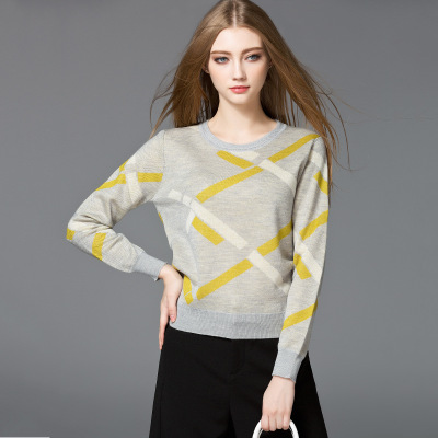 Elegant Fashion Design Geometric Pattern Side Slit Pullovers Knitwear Women Sweater