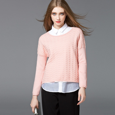 Factory supply women sweater collar neck special pointelle knit new design girl sweater