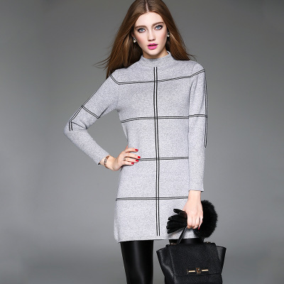 Hot Selling New Design Mid-high collar Classic pattern Knitwear Custom girls sweater design