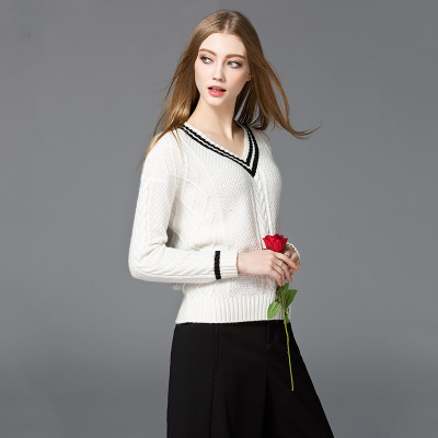 Factory supply blank pure wool smooth v-neck sweater school style woolen sweater designs ladies