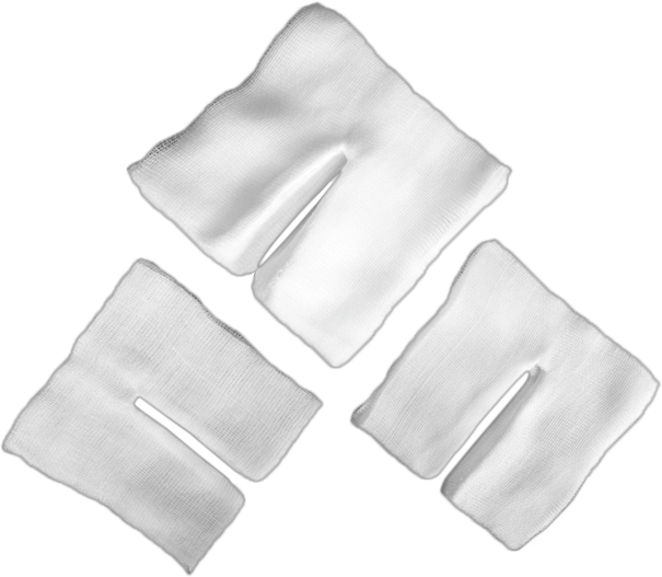 100% cotton Medical Tracheotomy Sponge with different cut ways/even and sharp Y-cut