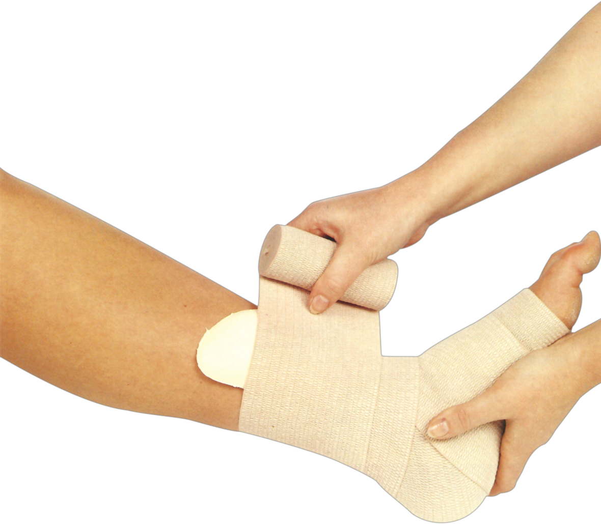 High quality Medical Elastic Compression Bandage with high cotton content and ribbed surface.