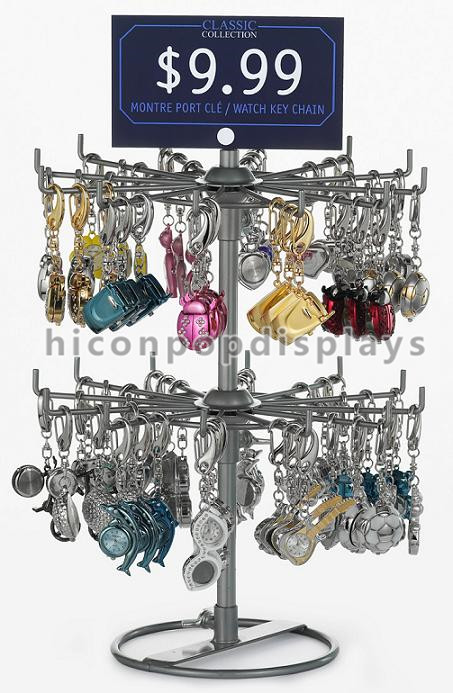 Turnable Keychain Counter Display Racks / Retail Hanging Display Racks