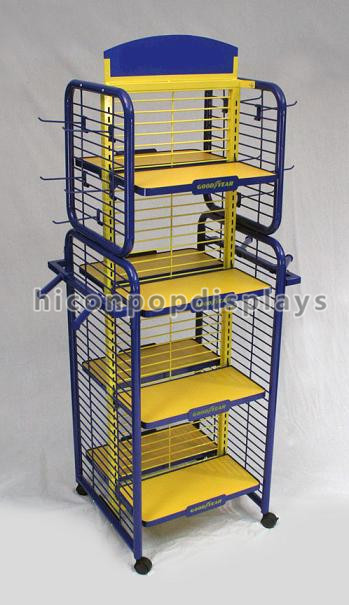 Floorstanding Metal 4- Way Movable Metal Toys Retail Display Rack