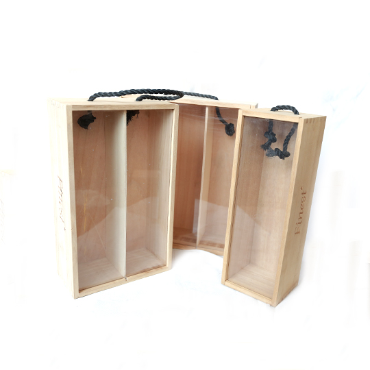 Natural Pine Wooden Wine Box for Single, two, Three or More bottles