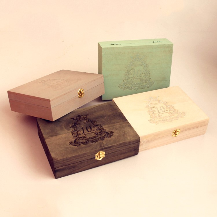 Retro wooden arts and crafts jewelry storage box