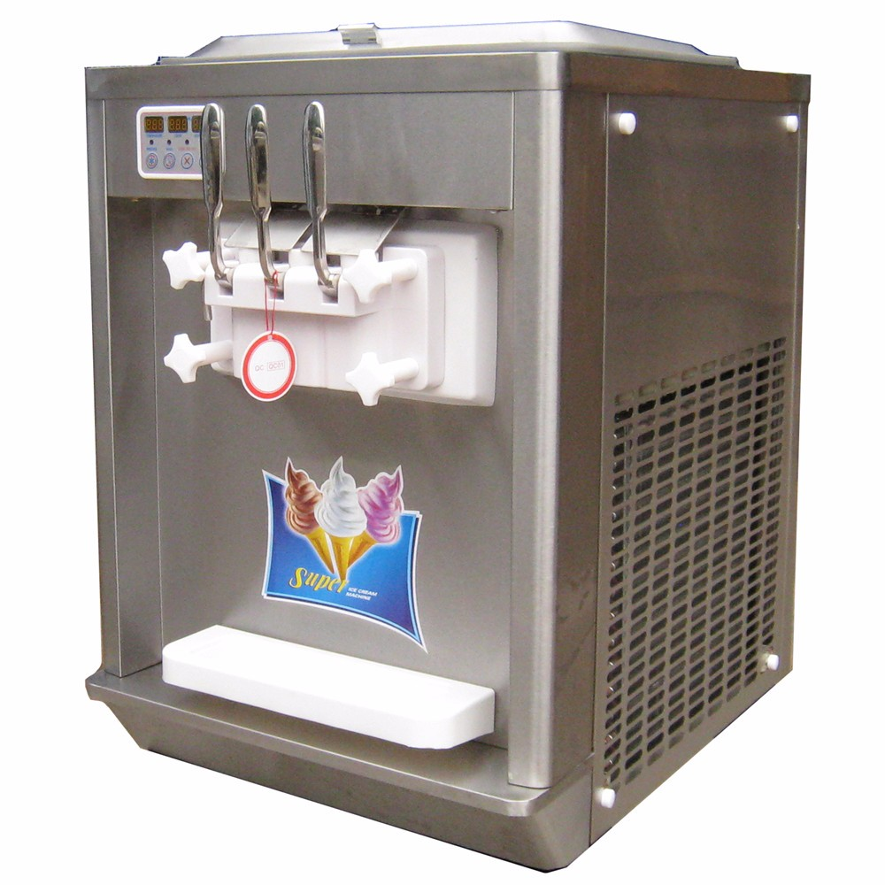 new industrial stainless steel table top ice cream machine with 3 flavors