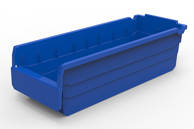 Plastic storage box for warehouse storage and handling