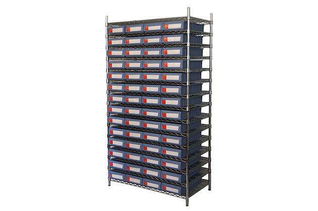 Shelf bins working with wire shelving
