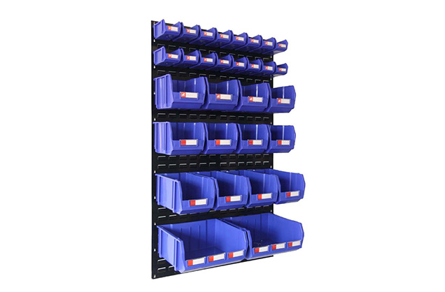 Louver panel kits with plastic storage bin