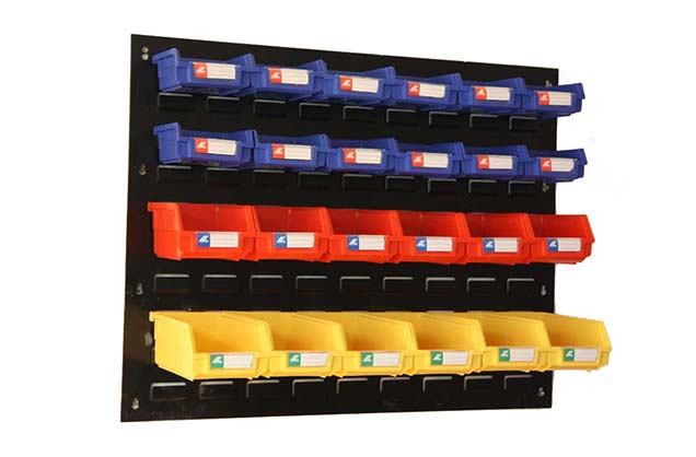 Wall mounted Louvered Panels with plastic hanging bins