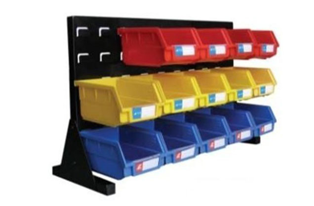 Louvered panel bench rack with plastic picking bins