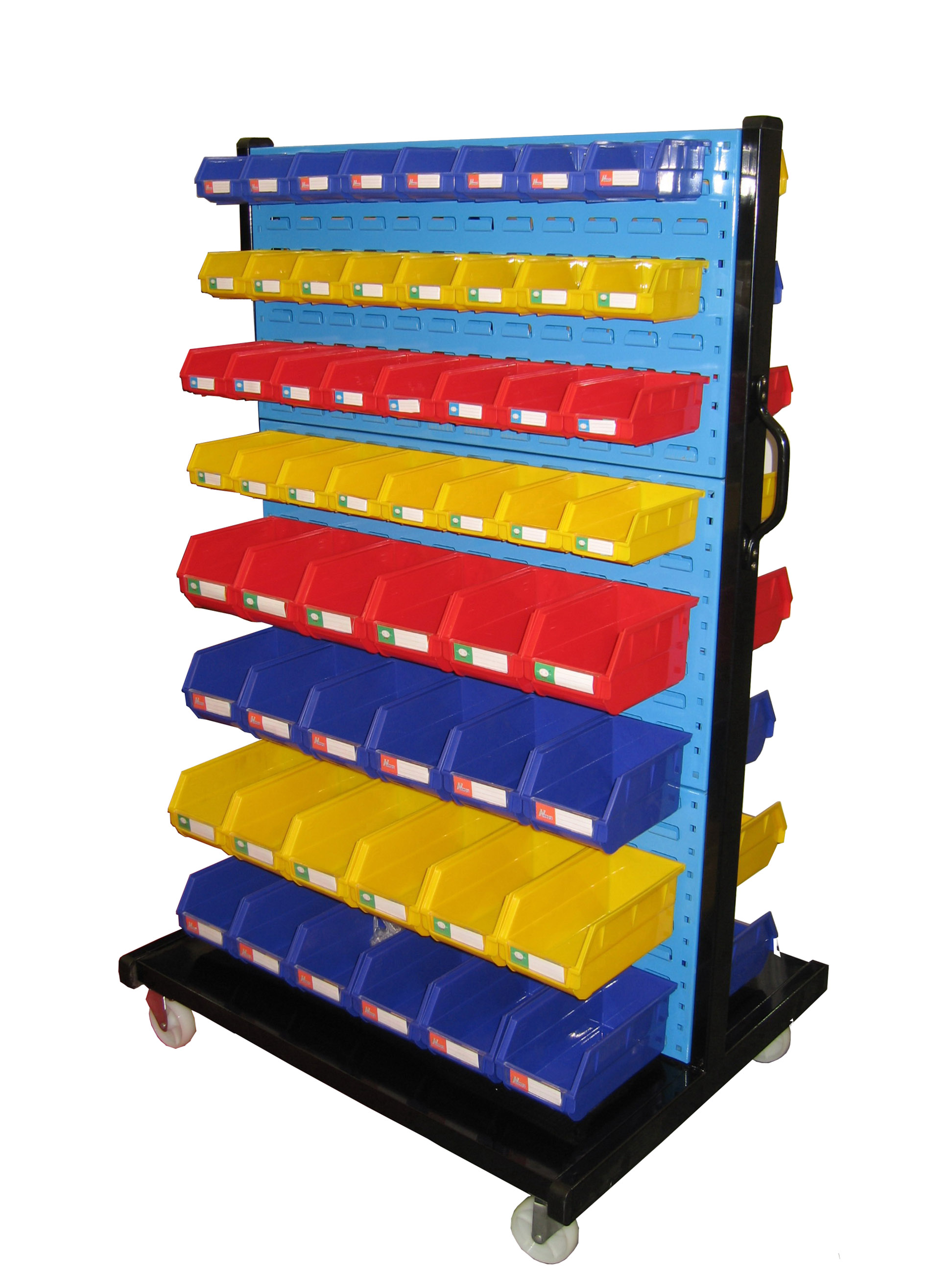 Mobile louvered panel floor rack with plastic bins