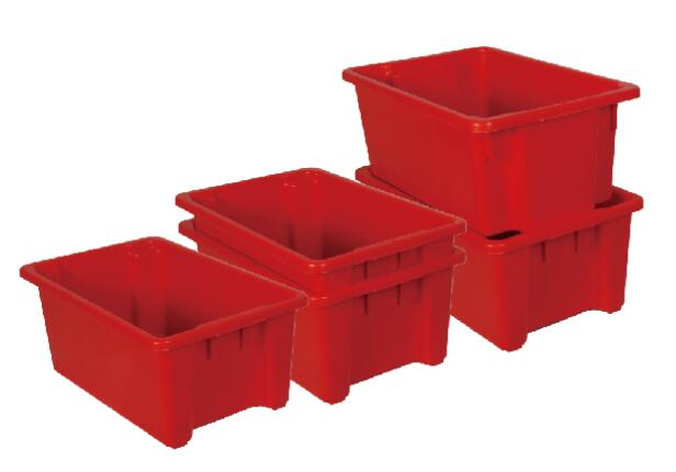 Plastic stack and nest containers for storage and moving