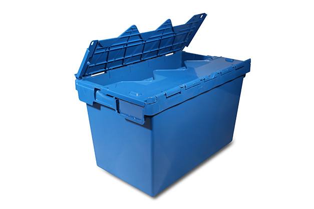 Nesting and stacking attached lid crates