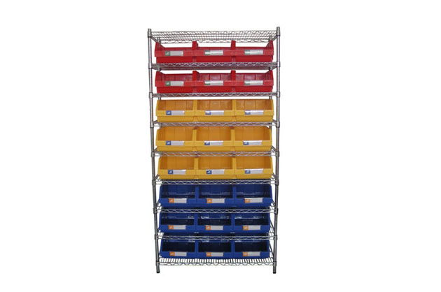 Chrome wire shelving with plastic bins
