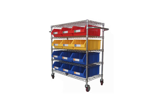Chrome wire shelving trolley moving easily