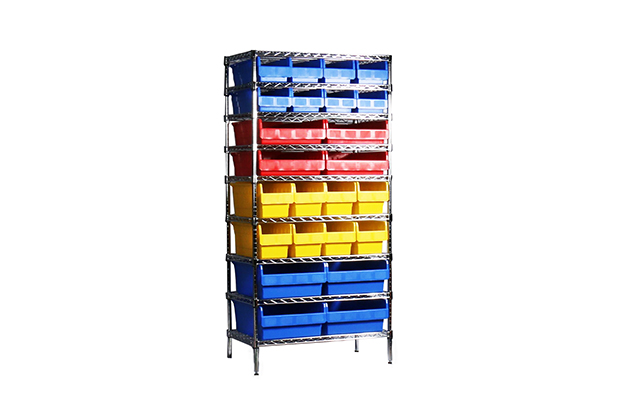 Storage racking with plastic bins/ crates/ boxes