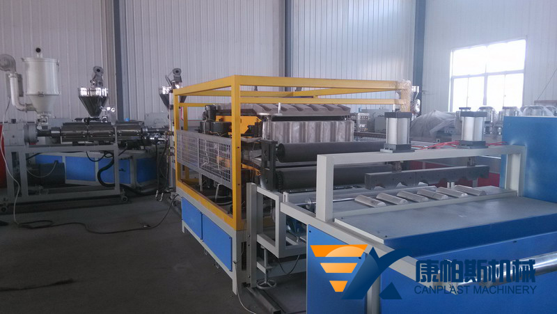 PVC glazed tile production line  PP,PVC wave board production line PVC glazed tile production line is composed of two conical double screw extruders, one single screw extruder, co-extruding distributo