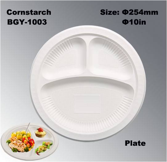 3 Compartments High Capacity Disposable Biodegradable Corn