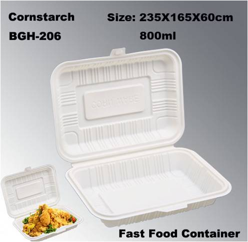 100% Degradation Compostable Cornstarch Take Out Fast Food Disposable Box
