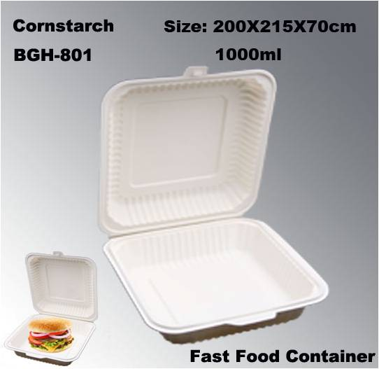 1000ml Degradation Compostable Cornstarch Disposable Carry Out Fast Food Box